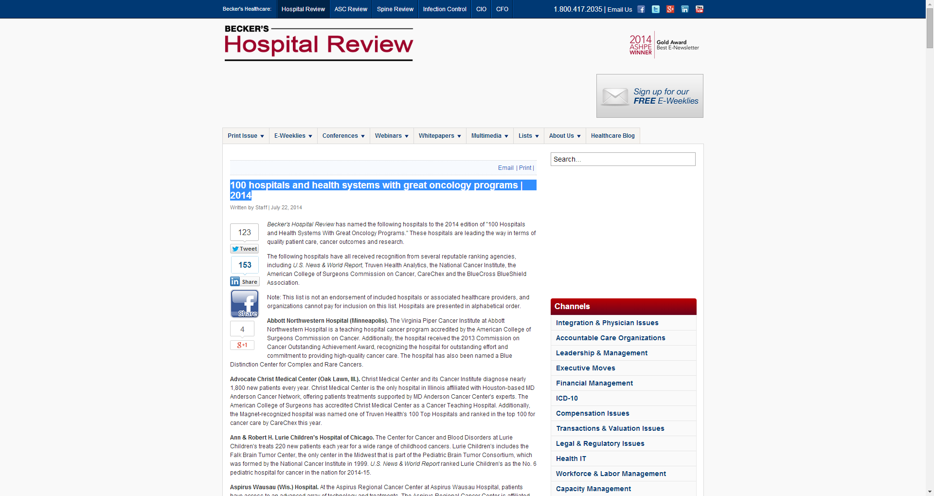 100 hospitals and health systems with great oncology