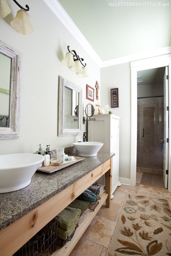 rustic cottage BAHTROOMS | The wall color is French Gray ...