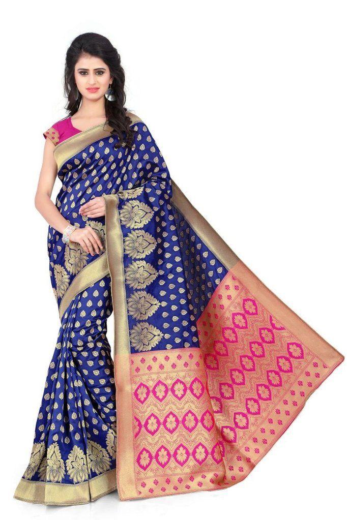 cf1bb60c23 Blue with Pink Pallu Banarasi Silk Jacquard Women's Saree   Jacquard ...