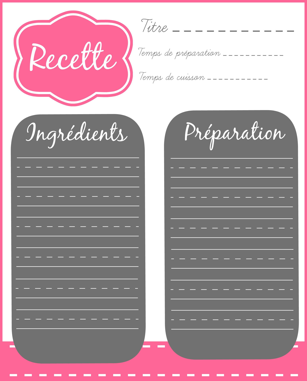 Fiche recette imprimer pinterest organizations - Livre de cuisine vierge ...