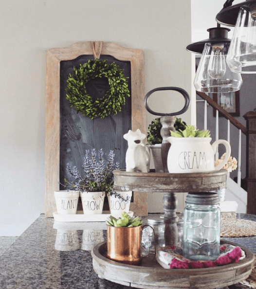 Shabby Chic Kitchen Table Centerpieces: Farmhouse Tiered Tray