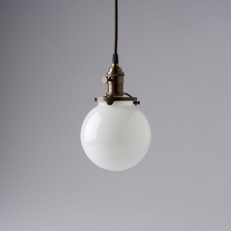 Round Glass Pendant Light Fixture 6 White Glass Globe Etsy Pendant Light Fixtures Pendant Light Glass Pendant Light