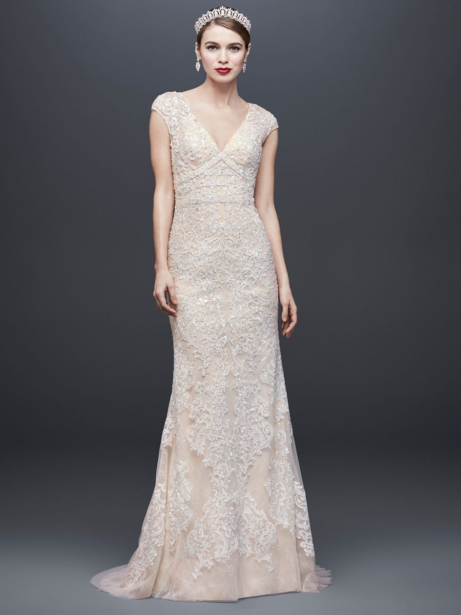 bba0ea5935c97 Oleg Cassini at David's Bridal Spring 2019 embroidered column gown wedding  dress