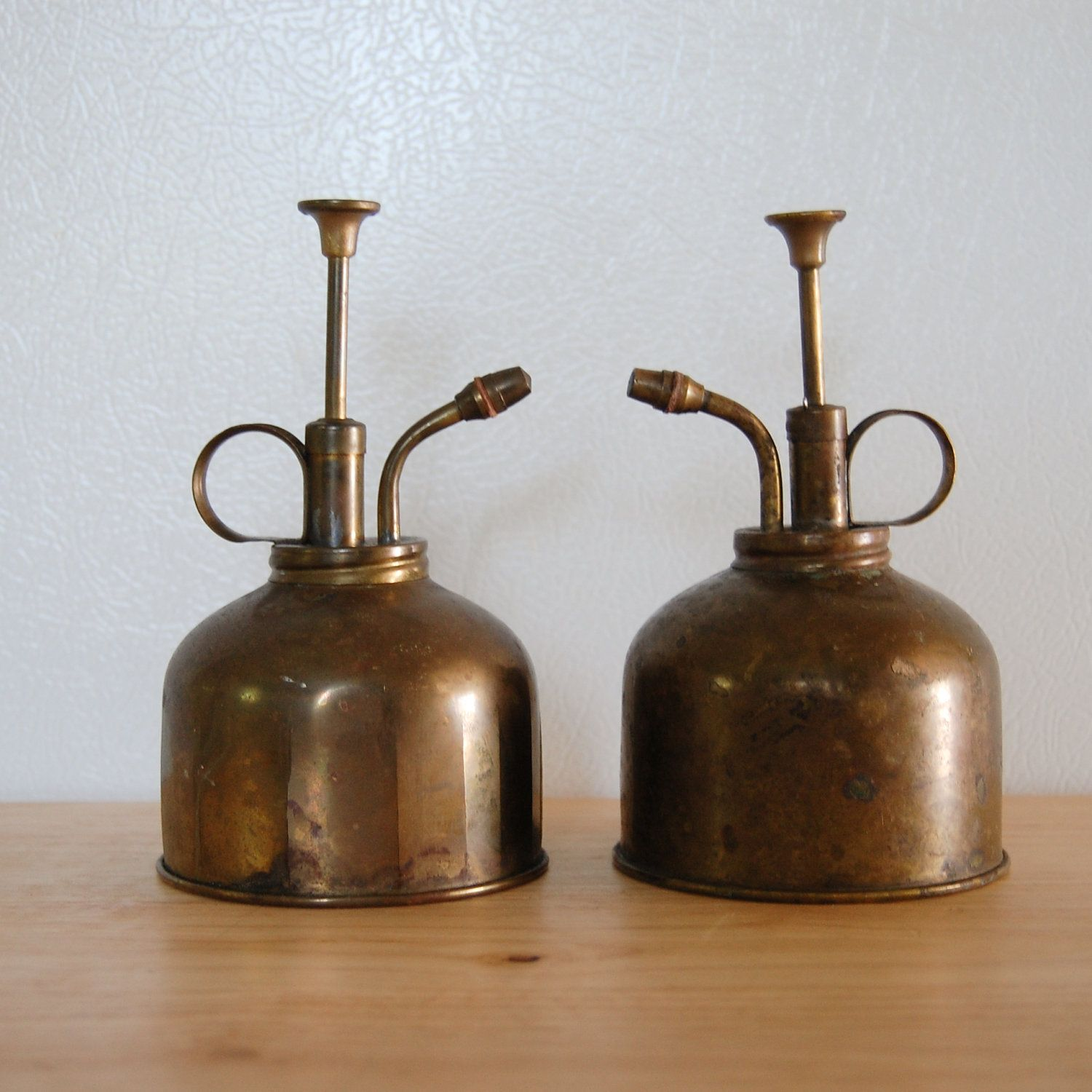Pair of vintage Oil Dispenser Cans / Orchid Misters - Home