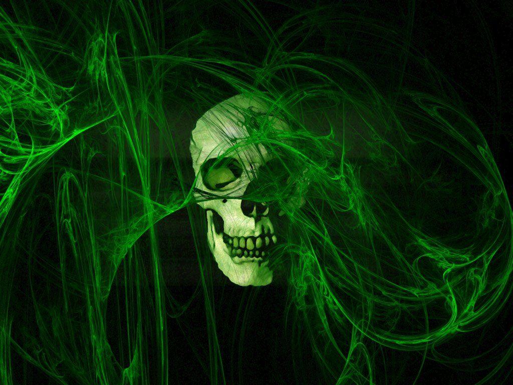 Wallpaper Green Skull Best Wallpaper Hd