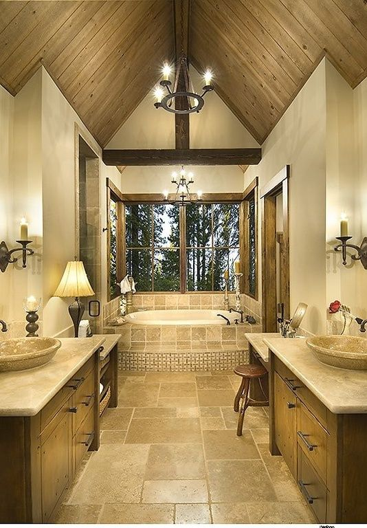 Master Bathroom With Cathedral Ceiling And Soaking Tub Bathrooms