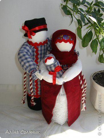 Куклы День семьи Шитьё Счастливая семья авторская мотанка Ткань фото 1