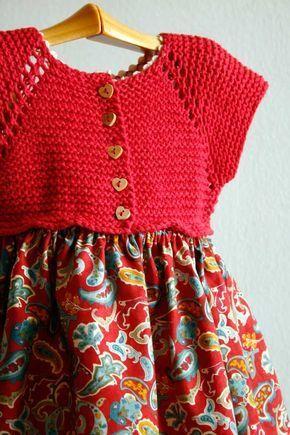 1e24b8009 Vestido sencillo de punto y tela   Taliha   Vestidos para bebés ...