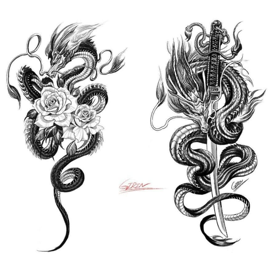 "💎 Asia Art Gallery 💎 on Instagram: ""🐉 🐉 Sword & Flower 🐉 🐉 New Beautiful designs👌👍 Artist @girin_tattoo . . Tag your artist friends🙏 Thanks for support❤ . For Share Works…"""