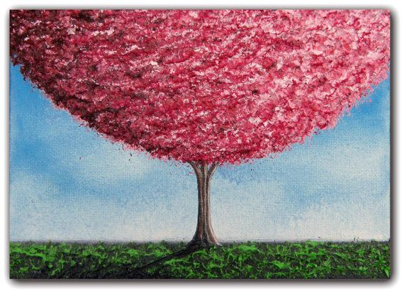 Cherry Blossoms Tree Painting, Paintings of Trees Wall Art, Pink Tree Art, Original Art Abstract Painting, Home Decor Oil Painting, 5 x 7