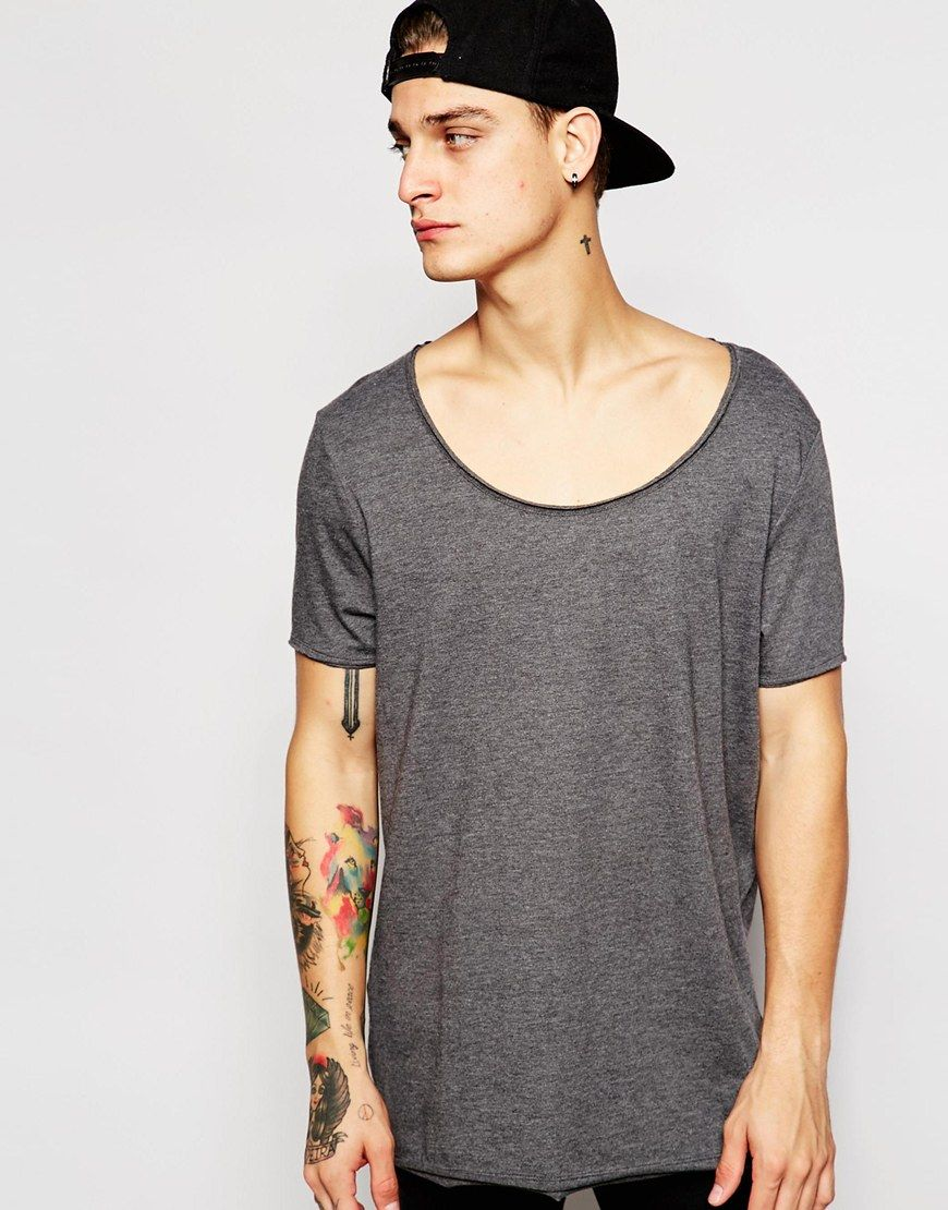 Image 1 of ASOS Longline T-Shirt With Scoop Neck And Raw Edge