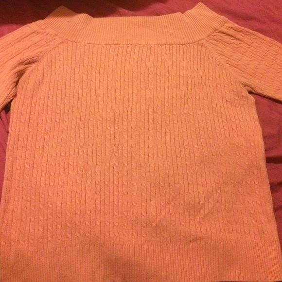 Peach Sweater Stylish fall colored sweater with a wide neck Rave Sweaters Crew & Scoop Necks