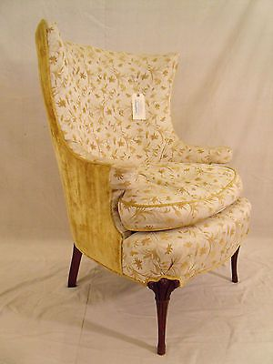 Pair Carved Grosfeld House Chairs Wing Back Hollywood Regency 1940s