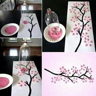 Cherry Blossom Art From A Recycled Soda Bottle Alpha Mom Chinese New Year Crafts Cherry Blossom Art New Year S Crafts