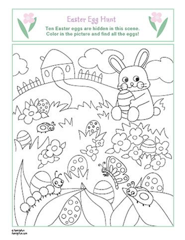 Spring Coloring Page Easter Egg Hunt
