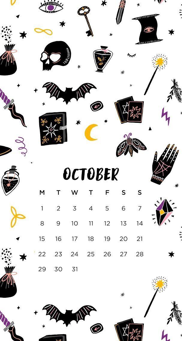 October 2018 calendar wallpaper iPhone Halloween,  #Calendar #Halloween #halloweenwallpaper20... #octoberwallpaperiphone