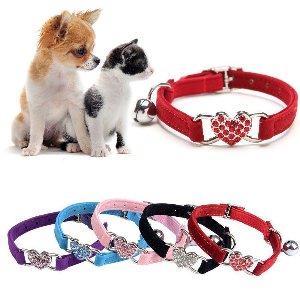 Pet Cat Small Dog Rhinestone Valentine Heart Collar With Bling