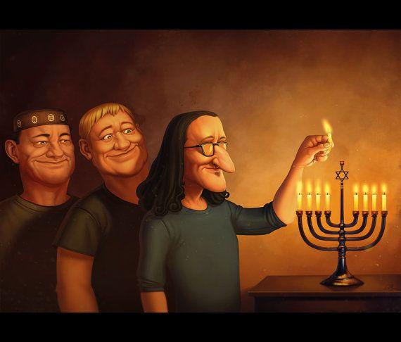 RUSH Lighting The Menorah  Hanukkah Card