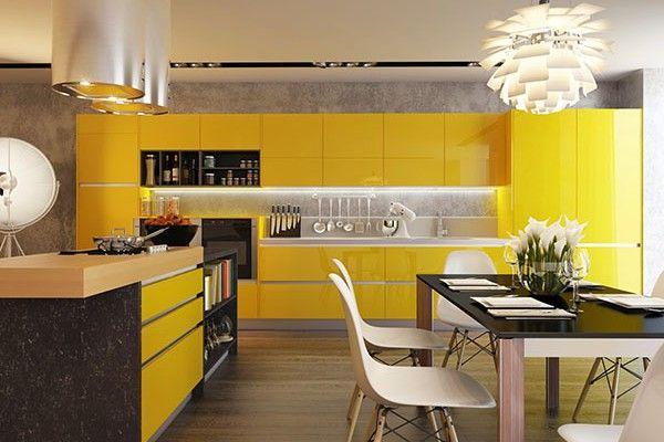 modern kitchen with yellow stylish cabinets