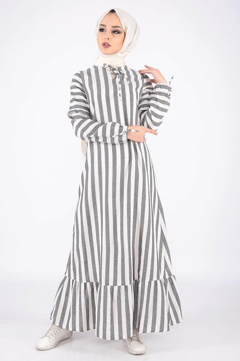 Cizgili Keten Elbise Tsd6424 Siyah Elbise Elbise Modelleri Cizgili Elbise