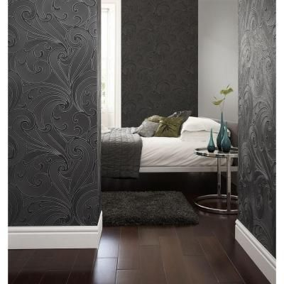 Graham & Brown 56 sq. ft. Saville Black Wallpaper-20-010 at The Home Depot
