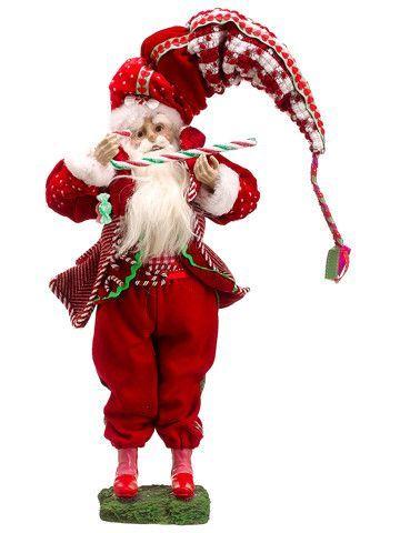 "17"" Peppermint Twist Decorative Plush Santa Claus w/ Candy Cane Christmas Figure"