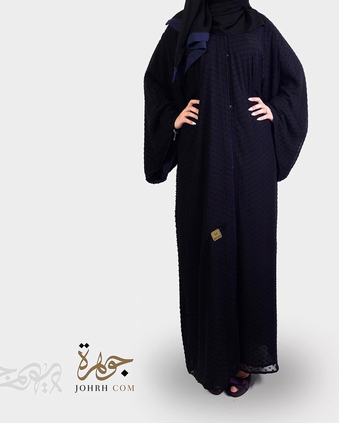 السعر 220 بل فيس منتش كحلي تألقي مع هذه العباية المريحة والانيقة من الاقمشة الناعمة والتي تلبس على جهتين دبل فيس من جهة قما Fashion High Neck Dress Dresses