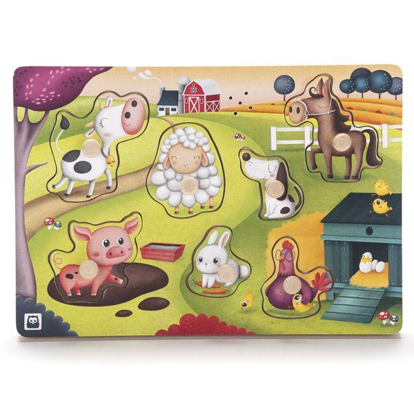 divertido puzzle de madera para encajar siete animales de la