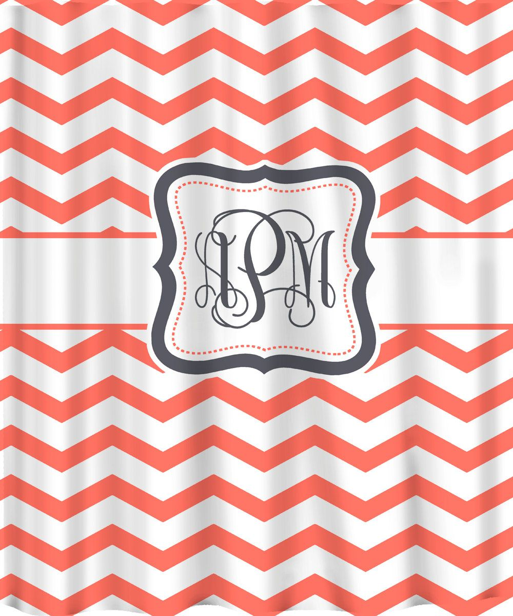 Personalized Shower Curtain - Coral & White Chevron -Any Color ...