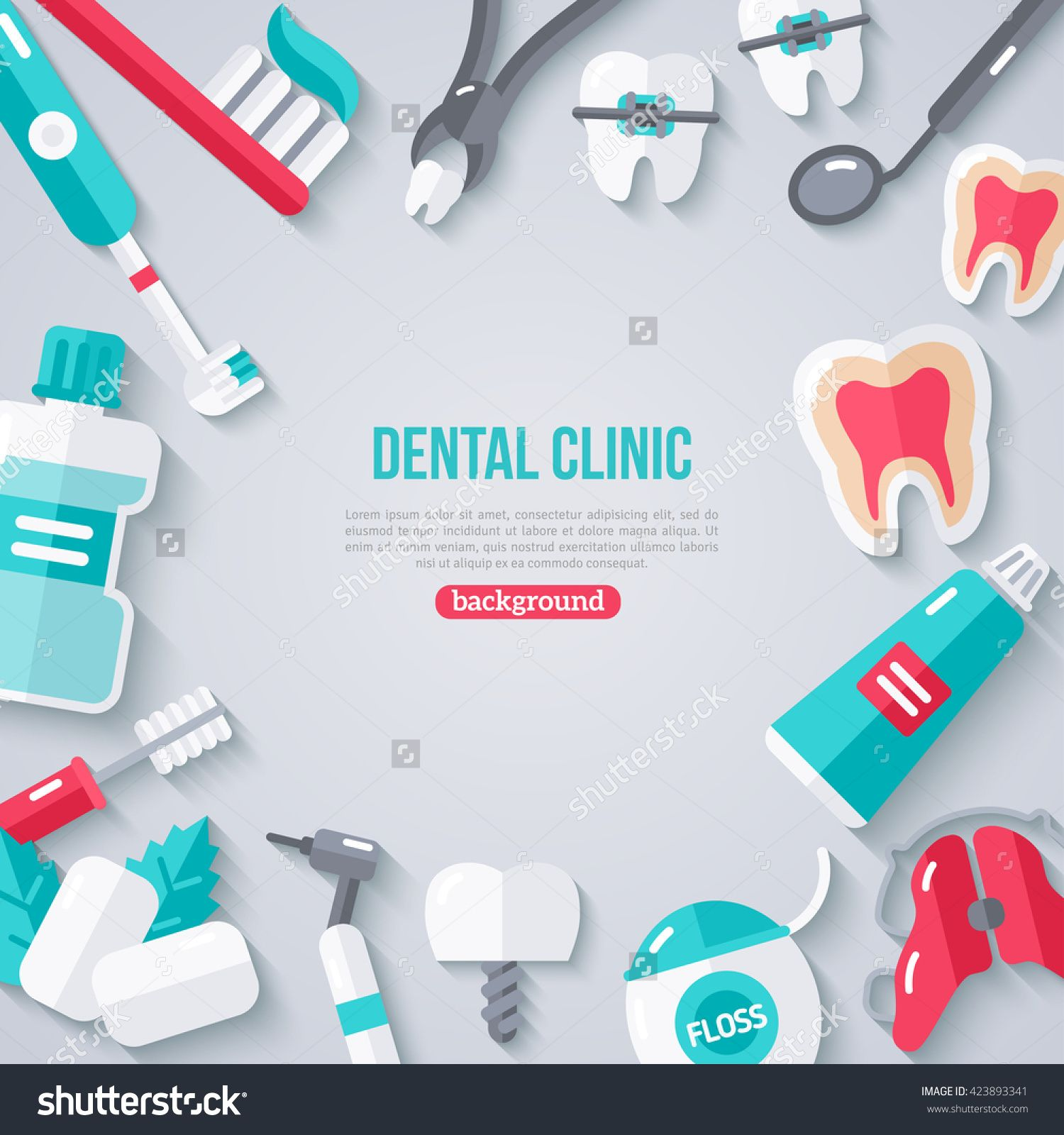 Dentistry Banner With Flat Icons. Vector illustration