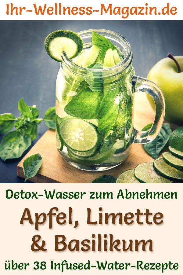 Apfel-Limetten-Basilikum-Wasser - Rezept für Infused Water - Detox-Wasser
