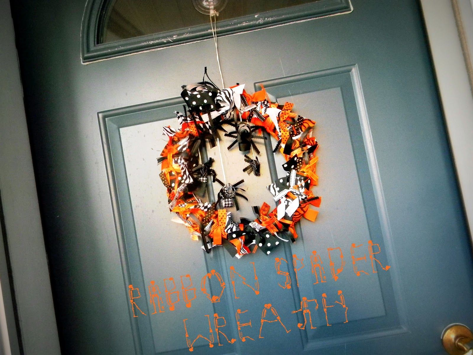 Spider ribbon wreath for halloween