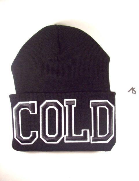 Ashlei Shannon COLD Graphic Beanie - Black on Black. Shop Winter Beanies.