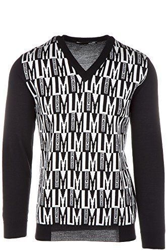 Men's Neck Moschino Jumper V Love Sweater Pullover FK1Jcl3T