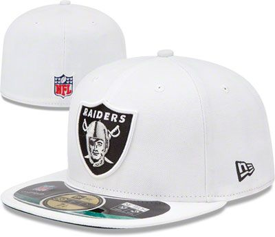 34c0d988eda Oakland Raiders White New Era Sideline 59FIFTY Fitted Hat  raiders  nfl   oakland