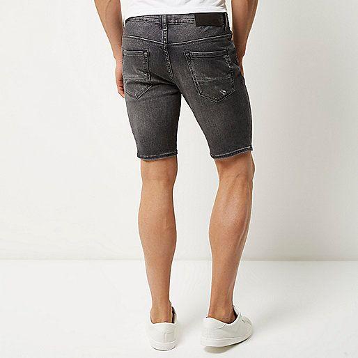 Grey wash distressed skinny denim shorts - casual shorts - shorts ...