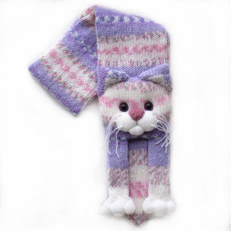 Knitted cat scarf,Knitted scarf,Animal scarf,Cat scarf,Knit scarf by ...