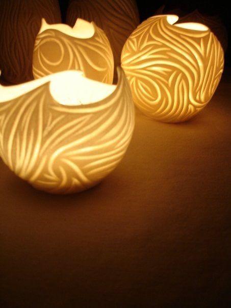 Sarah Brown carved porcelain luminaries