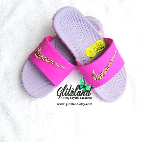 8c7a3665c0cb Swarovski Nike Kawa Slides   Flip Flops Blinged with SWAROVSKI® Crystals