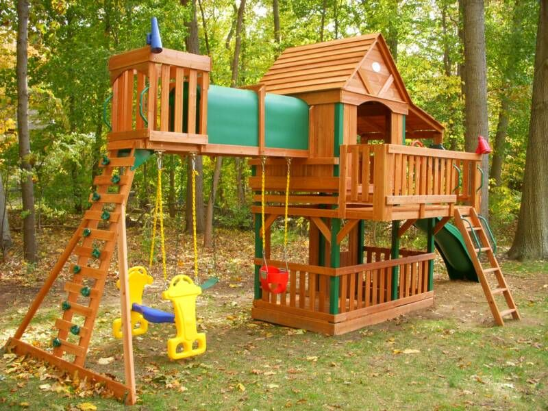Wooden Kids Playsets Yellow Blue Glider Swings For Playsets