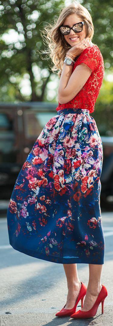 The Fashion Salad Multi Amazing Catching Eye Floral Midi Skirt