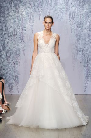 Lace v-neck ball gown wedding dress with tulle underskirt and lace overlay by @m_lhuillier | Bridal Market Fall 2016