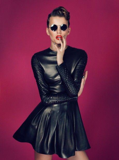 b9c94172e4d7 Black leather dresses · SLY 010 Kampagne 2013 long sleeve leather skater  dress