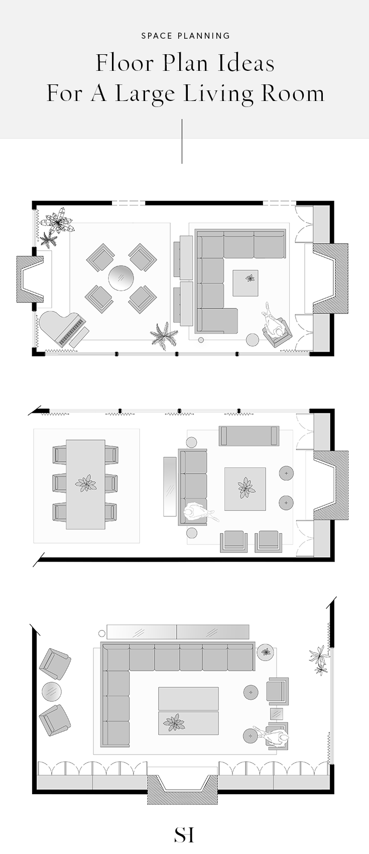 5 Furniture Layout Ideas For A Large Living Room With Floor Plans Garden Design L Large Living Room Design Rectangular Living Rooms Living Room Floor Plans