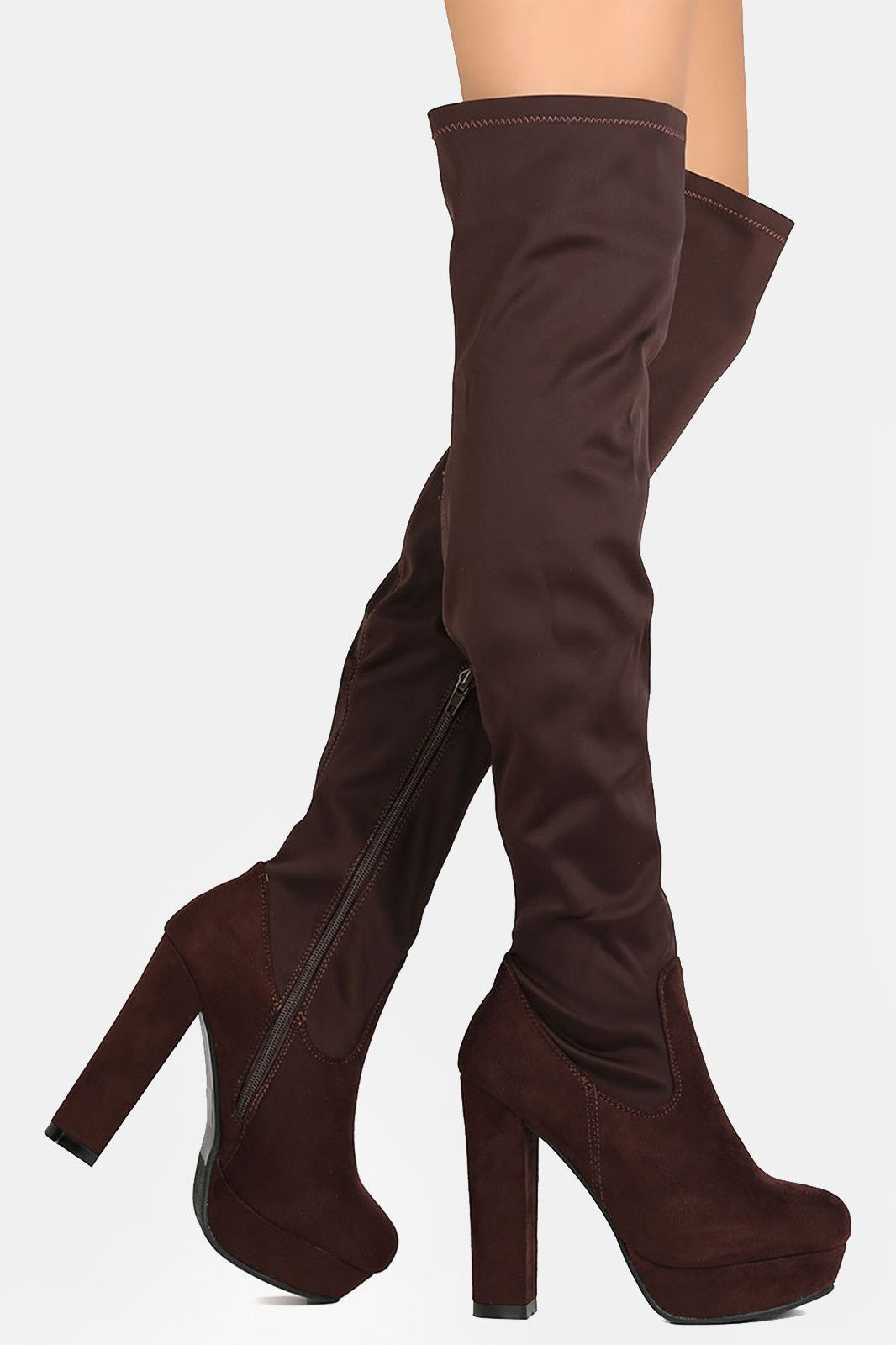 Fitted Chunky Heeled Over The Knee Platform Boots | Products ...