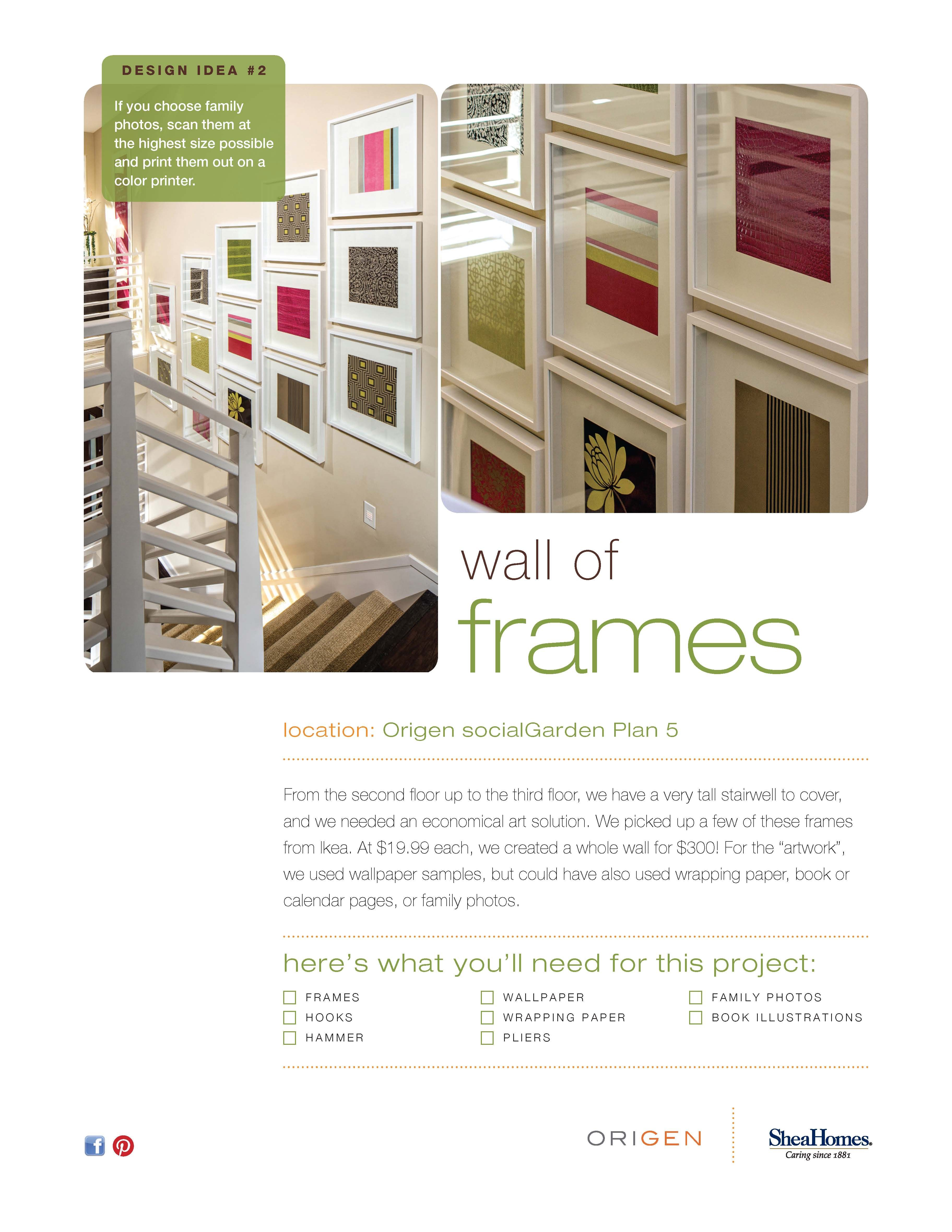 Not sure how to decorate that stairwell? Try a fun wall of frames ...