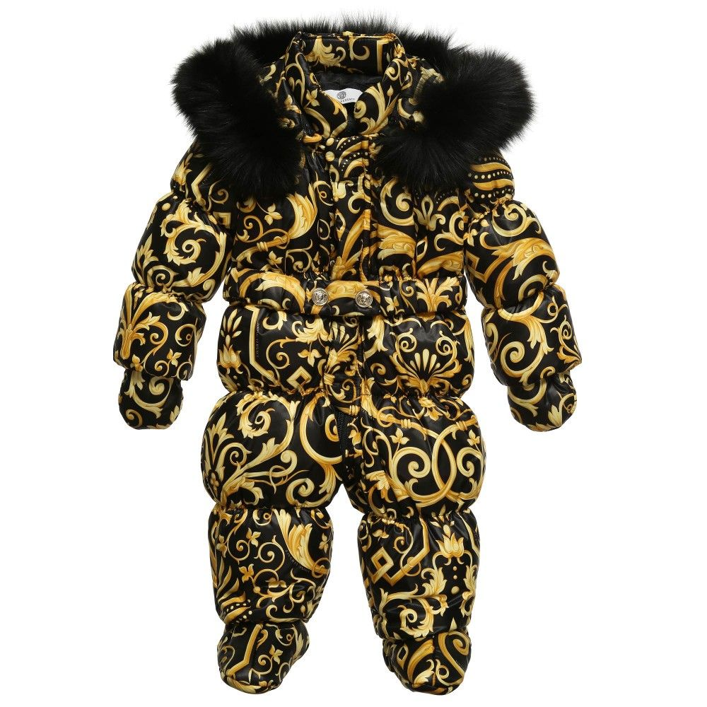 23889cba98ed Young Versace Black Baroque Down Padded Snowsuit at Childrensalon ...