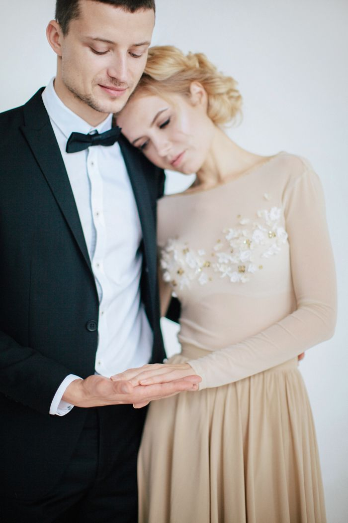 bride in champagne wedding dress and groom wedding photo shoot ideas | fabmood.com