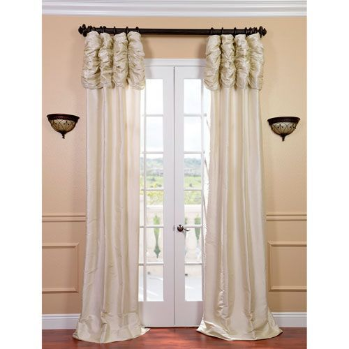 Ruched Pearl White 120 X 50 Inch Thai Silk Curtain Single Panel Drapes Curtains Curtains Silk Curtains