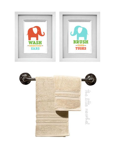 Set of 2 Bathroom Prints  Elephants 8x10   Pinterest   Bathroom     elephant bathroom prints that coordinate with a target circo shower curtain